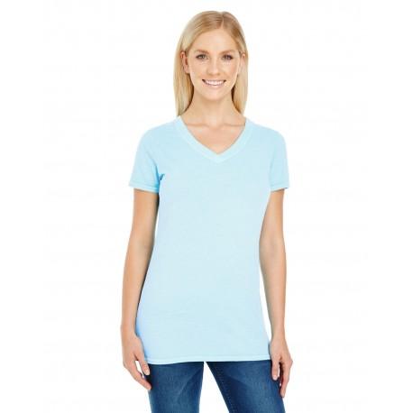 230B Threadfast Apparel 230B Ladies' Pigment-Dye Short-Sleeve V-Neck T-Shirt CHAMBRAY