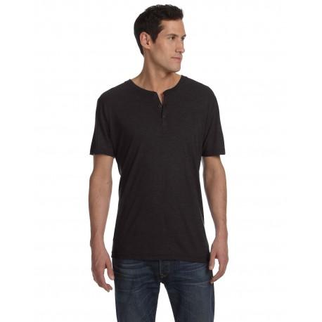 3125 Bella + Canvas 3125 Men's Triblend Short-Sleeve Henley CHAR-BLACK TRIB
