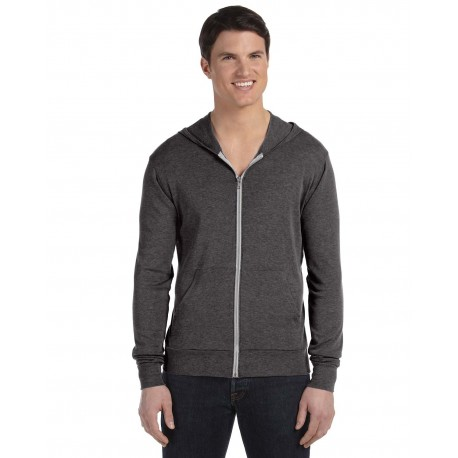 3939 Bella + Canvas 3939 Unisex Triblend Full-Zip Lightweight Hoodie CHAR-BLACK TRIB
