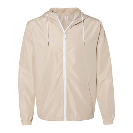 EXP54LWZ Independent Trading Co. EXP54LWZ Water-Resistant Lightweight Windbreaker Classic Khaki/ White Zipper