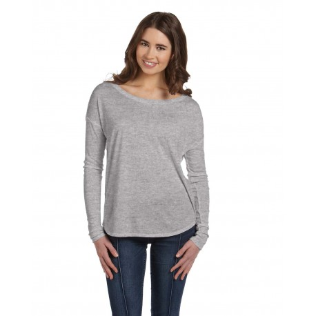 8852 Bella + Canvas 8852 Ladies' Flowy Long-Sleeve T-Shirt with 2x1 Sleeves ATHLETIC HEATHER
