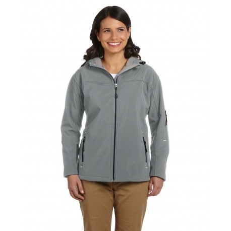 D998W Devon & Jones D998W Ladies' Soft Shell Hooded Jacket CHARCOAL