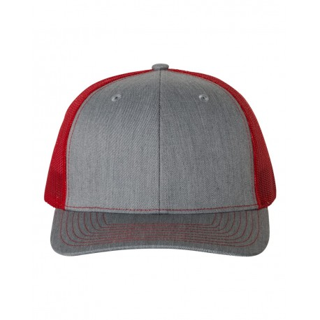 112 Richardson 112 Snapback Trucker Cap Heather Grey/ Red