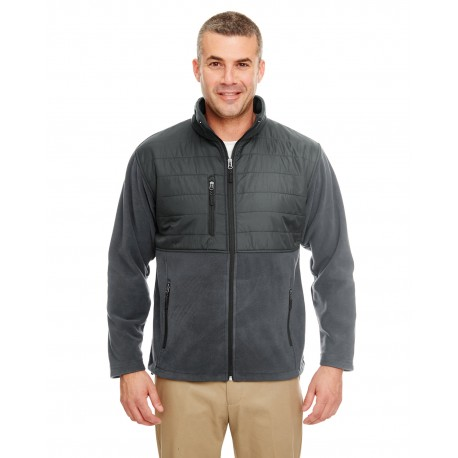 8492 UltraClub 8492 Men's Fleece Jacket with Quilted Yoke Overlay CHARCOAL