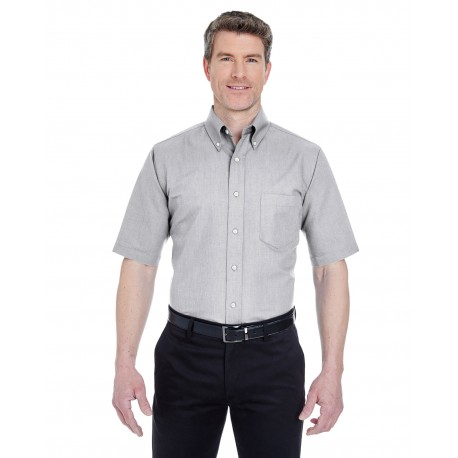 8972T UltraClub 8972T Men's Tall Classic Wrinkle-Resistant Short-Sleeve Oxford CHARCOAL