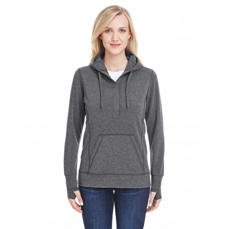 JA8431 J America JA8431 Ladies' Omega Stretch Snap-Placket Hood CHARCOAL TRBLND