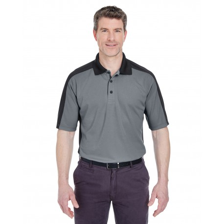 8447 UltraClub 8447 Adult Cool & Dry Stain-Release Two-Tone Performance Polo CHARCOAL/BLACK