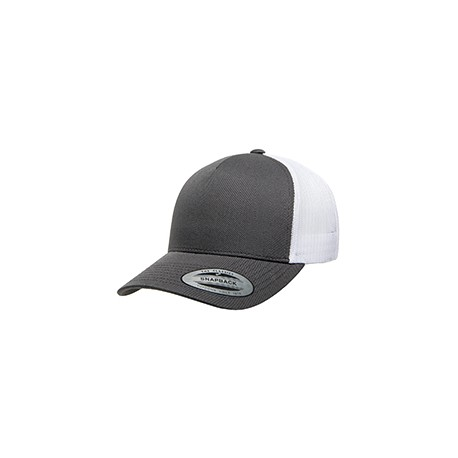 6506 Yupoong 6506 Adult 5-Panel Retro Trucker Cap CHARCOAL/WHITE