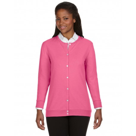 DP181W Devon & Jones DP181W Ladies' Perfect Fit Ribbon Cardigan CHARITY PINK