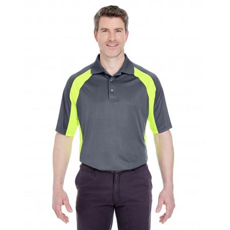 8427 UltraClub 8427 Adult Cool & Dry Sport Performance Colorblock Interlock Polo CHRCOAL/BRT YLW