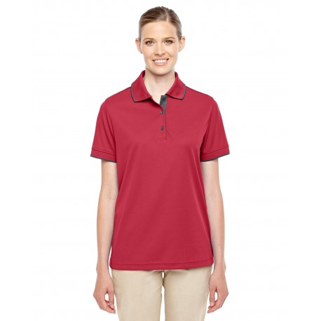 78222 Core 365 78222 Ladies' Motive Performance Pique Polo with Tipped Collar CL RED/CRBN 850