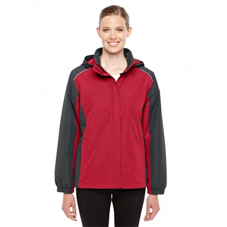 78225 Core 365 78225 Ladies' Inspire Colorblock All-Season Jacket CL RED/CRBN 850