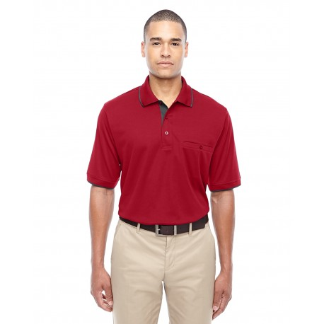 88222 Core 365 88222 Men's Motive Performance Pique Polo with Tipped Collar CL RED/CRBN 850