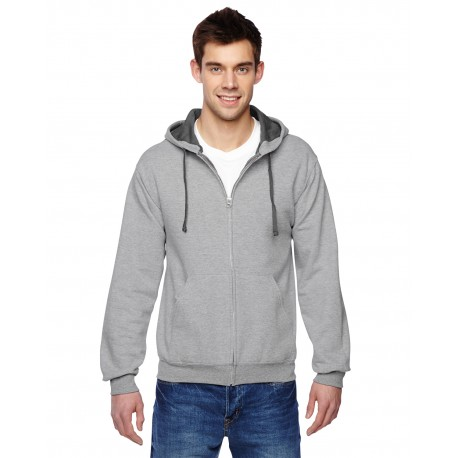 SF73R Fruit of the Loom SF73R Adult 7.2 oz. SofSpun Full-Zip Hooded Sweatshirt ATHLETIC HEATHER