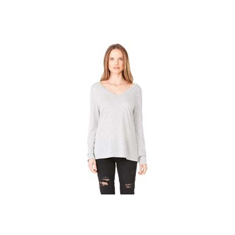 8855 Bella + Canvas 8855 Ladies' Flowy Long-Sleeve V-Neck ATHLETIC HEATHER