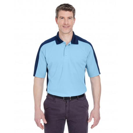 8447 UltraClub 8447 Adult Cool & Dry Stain-Release Two-Tone Performance Polo COLUM BLUE/NAVY