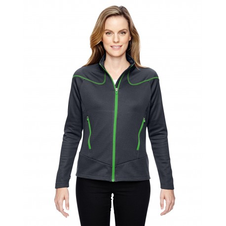 78806 North End 78806 Ladies' Cadence Interactive Two-Tone Brush Back Jacket CRBN/ACD GN 472