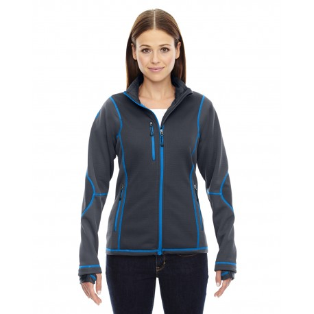78681 North End 78681 Ladies' Pulse Textured Bonded Fleece Jacket with Print CRBN/OLY BL 466