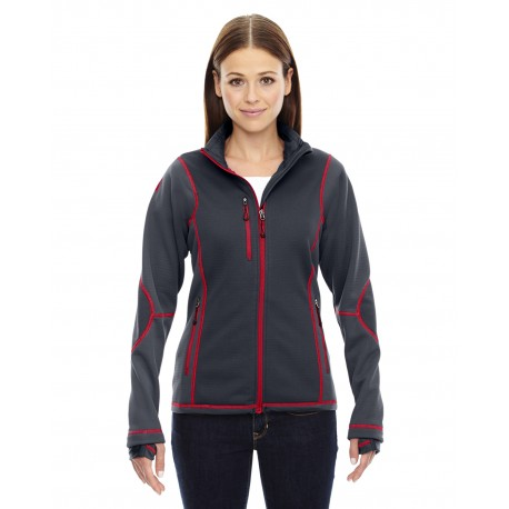 78681 North End 78681 Ladies' Pulse Textured Bonded Fleece Jacket with Print CRBN/OLY RD 467
