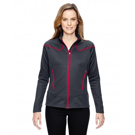 78806 North End 78806 Ladies' Cadence Interactive Two-Tone Brush Back Jacket CRBN/OLY RD 467