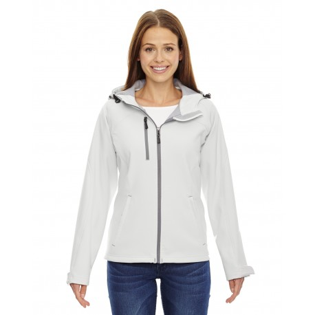 78166 North End 78166 Ladies' Prospect Two-Layer Fleece Bonded Soft Shell Hooded Jacket CRYSTL QRTZ 695