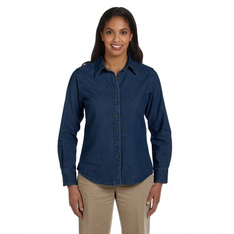 M550W Harriton M550W Ladies' 6.5 oz. Long-Sleeve Denim Shirt DARK DENIM