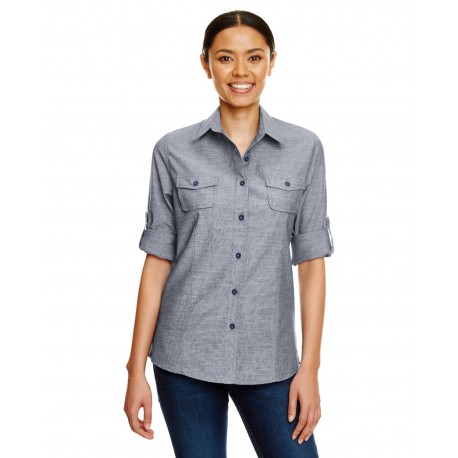 B5255 Burnside B5255 Ladies Chambray Woven Shirt DARK DENIM