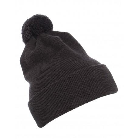 1501P Yupoong 1501P Cuffed Knit Beanie with Pom Pom Hat DARK GREY