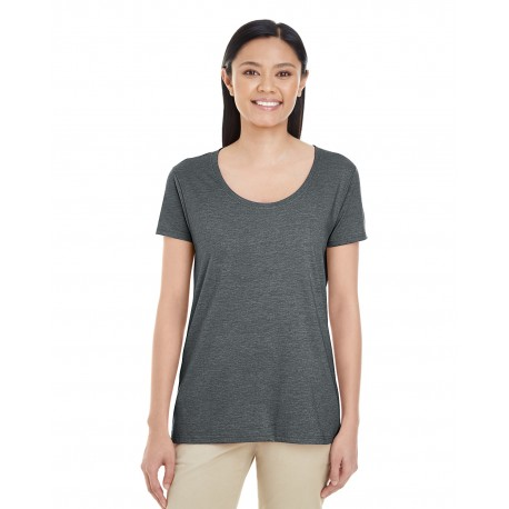 G6455L Gildan G6455L Ladies' Softstyle 4.5 oz. Deep Scoop T-Shirt DARK HEATHER