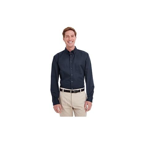 M581T Harriton M581T Men's Tall Foundation 100% Cotton Long-Sleeve Twill Shirt with Teflon DARK NAVY