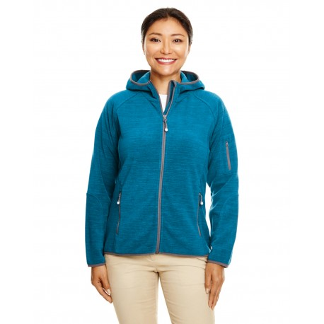DP700W Devon & Jones DP700W Ladies' Perfect Fit Melange Velvet Fleece Hooded Full-Zip DARK TEAL HEATHR