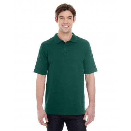 055P Hanes 055P Men's 6.5 oz. X-Temp Pique Short-Sleeve Polo with Fresh IQ DEEP FOREST