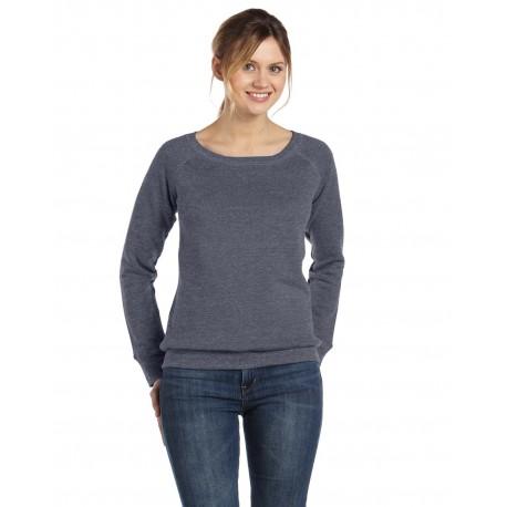 7501 Bella + Canvas 7501 Ladies' Sponge Fleece Wide Neck Sweatshirt DEEP HEATHER