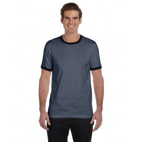 3055C Bella + Canvas 3055C Men's Jersey Short-Sleeve Ringer T-Shirt DEEP HEATHR/BLK
