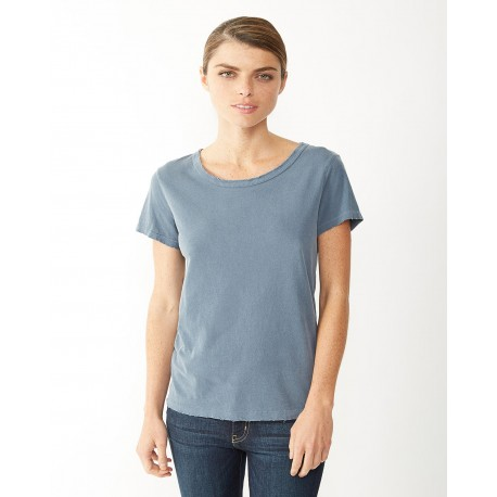 04860C1 Alternative 04860C1 Ladies' Vintage Garment-Dyed Distressed T-Shirt DK BLUE PIGMENT