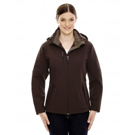 78080 North End 78080 Ladies' Glacier Insulated Three-Layer Fleece Bonded Soft Shell Jacket with Detachable Hood DK CHOCOLTE 672