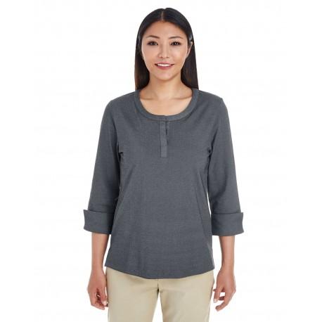 DG230W Devon & Jones DG230W Ladies' Central Cotton Blend Melange Knit Top DK GREY HEATHER