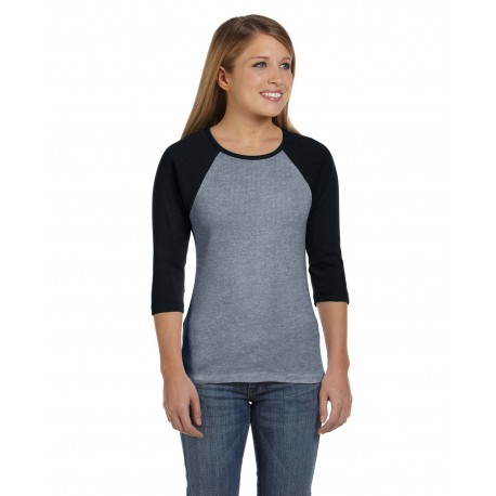 B2000 Bella + Canvas B2000 Ladies' Baby Rib 3/4-Sleeve Contrast Raglan T-Shirt DP HEATHER/BLK