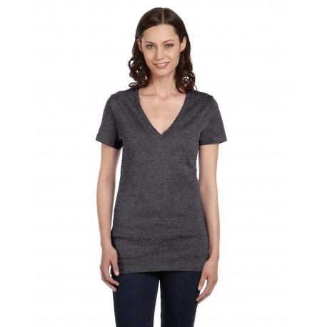 B6035 Bella + Canvas B6035 Ladies' Jersey Short-Sleeve Deep V-Neck T-Shirt DRK GREY HEATHER