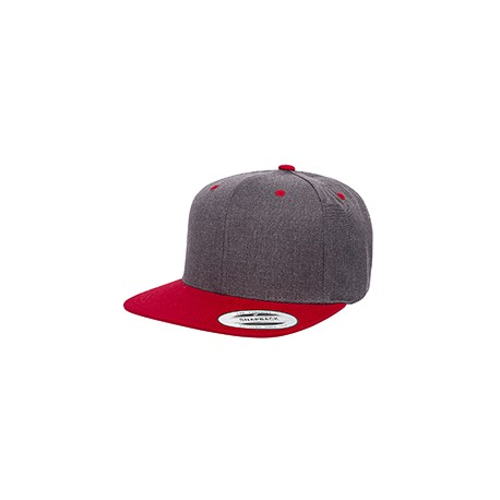 6089MT Yupoong 6089MT Adult 6-Panel Structured Flat Visor Classic Two-Tone Snapback DRK HTHR/RED