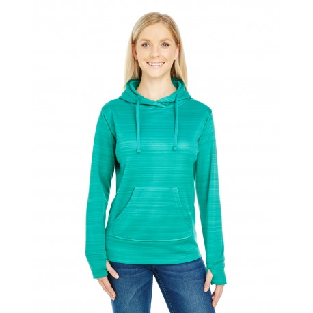 JA8662 J America JA8662 Ladies' Odyssey Striped Poly Fleece Lapover Hood DYNASTY GRN STRP