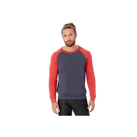 AA3202 Alternative AA3202 Unisex Champ Eco-Fleece Colorblocked Sweatshirt E TR NV/E T RED