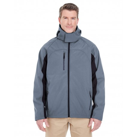 8290 UltraClub 8290 Adult Colorblock 3-in-1 Systems Hooded Soft Shell Jacket EBONY/BLACK