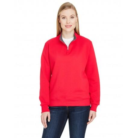 LSF95R Fruit of the Loom LSF95R Ladies' 7.2 oz. Sofspun Quarter-Zip Sweatshirt FIERY RED