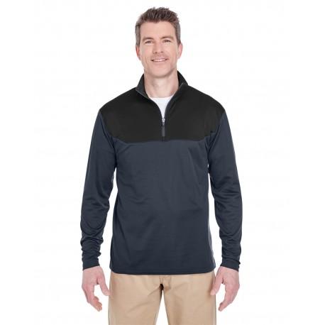 8233 UltraClub 8233 Adult Cool & Dry Sport Colorblock Quarter-Zip Pullover FLINT/BLACK