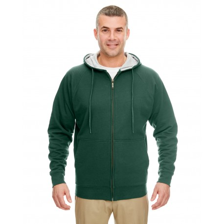 8463 UltraClub 8463 Adult Rugged Wear Thermal-Lined Full-Zip Hooded Fleece FOR GRN/HTH GRY