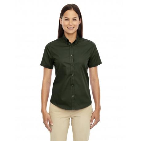 78194 Core 365 78194 Ladies' Optimum Short-Sleeve Twill Shirt FOREST 630