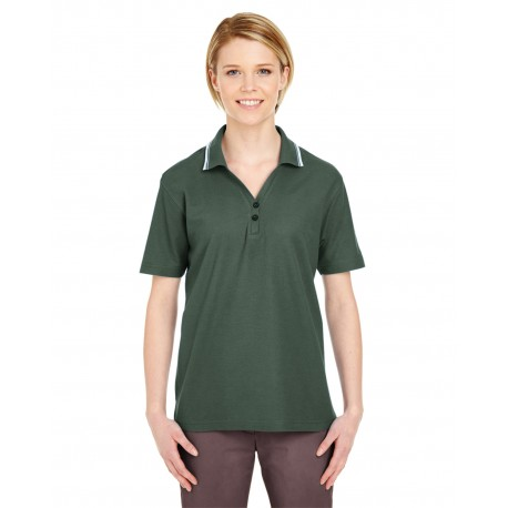 8546 UltraClub 8546 Ladies' Short-Sleeve Whisper Pique Polo with Tipped Collar FOREST GRN/WHT