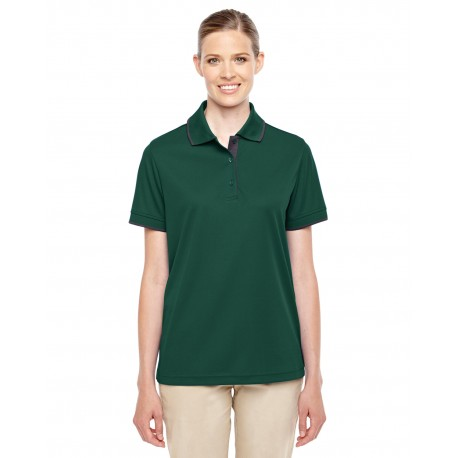 78222 Core 365 78222 Ladies' Motive Performance Pique Polo with Tipped Collar FOREST/CRBN 630