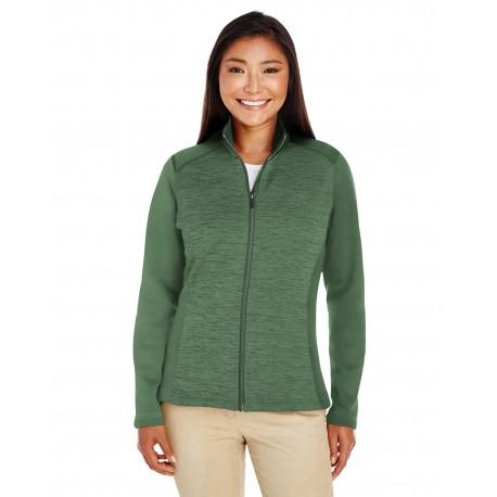 DG796W Devon & Jones DG796W Ladies' Newbury Colorblock Melange Fleece Full-Zip FRCH BL/F BL HT